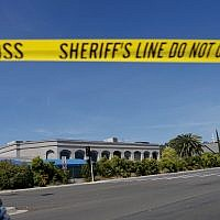 Sheriff's crime scene tape is placed in front of the Chabad of Poway Synagogue, after a shooting on April 27, 2019, in Poway, California. (Sandy Huffaker/AFP)
