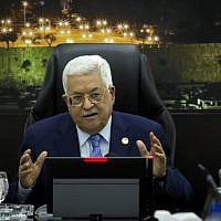 Palestinian Authority President Mahmud Abbas speaks during the weekly PA cabinet meeting in the West Bank city of Ramallah on April 29, 2019. (Majdi Mohammed / POOL / AFP)