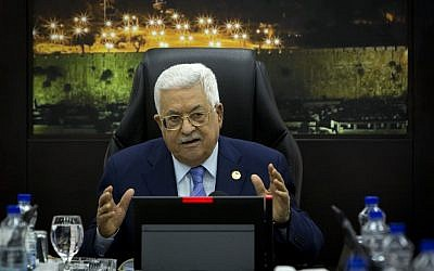 Palestinian Authority President Mahmud Abbas speaks during the weekly PA cabinet meeting in the West Bank city of Ramallah on April 29, 2019. (Majdi Mohammed/Pool/AFP)