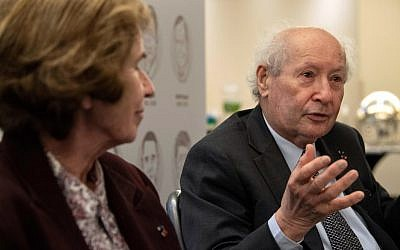 Former Nazi hunters Serge and Beate Klarsfeld speak during an interview with AFP in Washington, DC, on April 29, 2019.  (NICHOLAS KAMM / AFP)