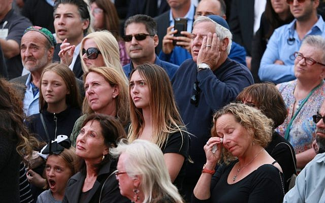 Congregants and other members of the public attend a funeral service at the Chabad of Poway Synagogue for Lori Gilbert-Kaye, who was killed in a shooting at the synagogue, in Poway, California, on April 29, 2019. (Sandy HUffaker/AFP)
