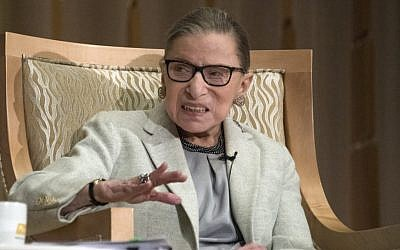 Associate Justice of the Supreme Court of the United States Ruth Bader Ginsburg appears at Adas Israel Congregation in Washington, DC, on February 1, 2018. (Ron Sachs/ CNP, via JTA)