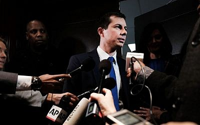 Democratic presidential hopeful Pete Buttigieg speaks to the media at the National Action Network's annual convention in New York City, April 4, 2019. (Spencer Platt/Getty Images/via JTA)