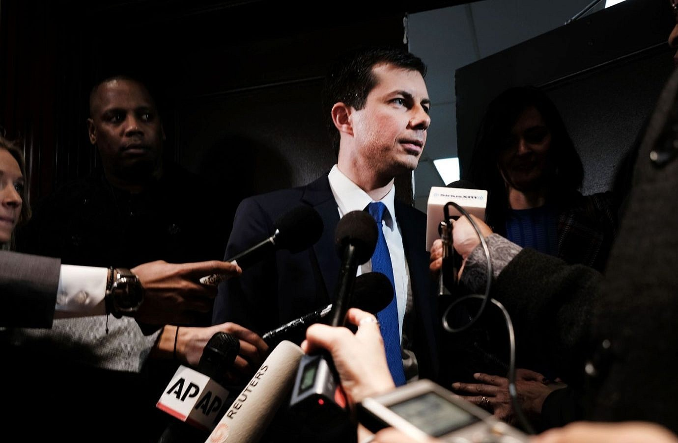 Democratic presidential hopeful Pete Buttigieg speaks to the media at the National Action Network's annual convention in New York City
