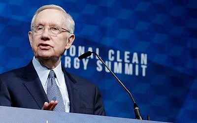 Former U.S. Senator Harry Reid speaks during the National Clean Energy Summit 9.0 in Las Vegas, Nevada on October 13, 2017. (Isaac Brekken/Getty Images for National Clean Energy Summit)