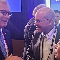 Sen. Kevin Cramer, R-N.D., left, speaks with Sigal Chattah, right, the chairwoman of the Nevada chapter of the Israeli-American Civic Action Network, at the annual Republican Jewish Coalition conference in Las Vegas, on April 6, 2019. (Dillon Hosier)