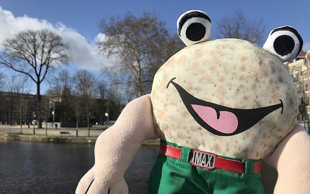 A puppet of Max the Matzah at a park in Amsterdam (Courtesy of JCK/via JTA)