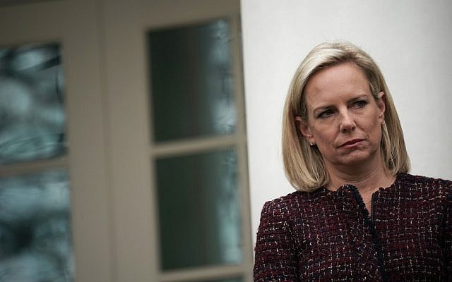 US Secretary of Homeland Security Kirstjen Nielsen listens in the Rose Garden of the White House on January 4, 2019 in Washington, DC. (Alex Wong/Getty Images/AFP)