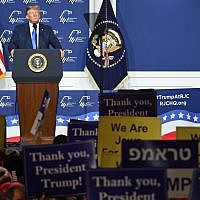 US President Donald Trump speaks during the Republican Jewish Coalition's annual leadership meeting at The Venetian Las Vegas on April 6, 2019 in Las Vegas, Nevada. (Ethan Miller/Getty Images/AFP)