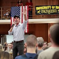 Democratic presidential candidate Beto O'Rourke speaks during a campaign rally at the University of Iowa on April 7, 2019 in Iowa City, Iowa. (Scott Olson/Getty Images/AFP)