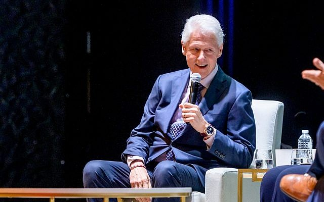 Former US President Bill Clinton on stage at the Beacon Theatre during a speaking event on April 11, 2019 in New York City. (Roy Rochlin/Getty Images/AFP)