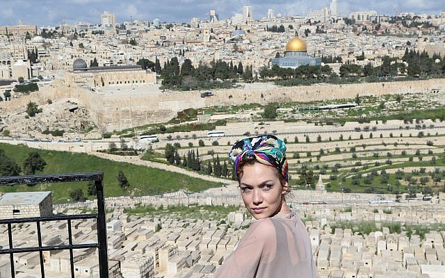 'Star' actress Jude Demorest in Jerusalem on April 11, 2019. (Courtesy/ America's Voices in Israel)