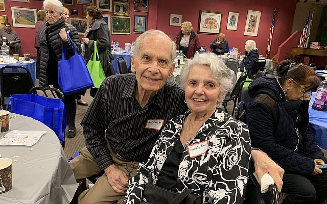 Sarah Knecht, a Holocaust survivor from Poland, came to the seder with her husband Ted. (Josefin Dolsten)