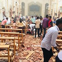 The aftermath of an explosion in St. Sebastian's Church in Negombo, Sri Lanka, on Easter Sunday, April 21, 2019. (Courtesy: St. Sebastian's Church)