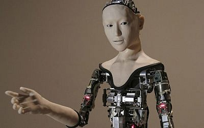 "This Monday, Aug. 1, 2016 file photo shows the humanoid robot ""Alter"" on display at the National Museum of Emerging Science and Innovation in Tokyo. Understanding humor may be one of the last things that separates humans from ever smarter machines, computer scientists and linguists say. (AP Photo/Koji Sasahara)"