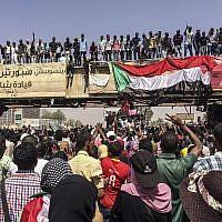 Protesters rally near the military headquarters, April 9, 2019, in the capital Khartoum, Sudan. (AP Photo)