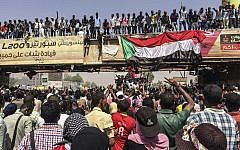 Protesters rally near the military headquarters, April 9, 2019, in the capital Khartoum, Sudan. (AP Photo)