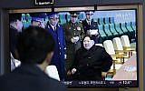"""A man watches a TV news program reporting about North Korea's test-fire of a """"new-type tactical guided weapon,"""" with a footage of North Korean leader Kim Jong Un, at the Seoul Railway Station in Seoul, South Korea, Thursday, April 18, 2019. North Korea has test-fired a """"new-type tactical guided weapon,"""" its state media announced Thursday. (AP Photo/Lee Jin-man)"""