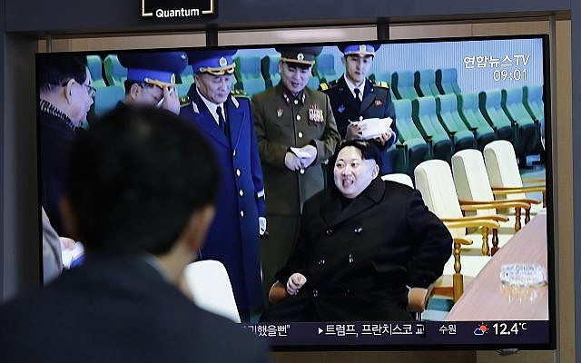 "A man watches a TV news program reporting about North Korea's test-fire of a ""new-type tactical guided weapon,"" with a footage of North Korean leader Kim Jong Un, at the Seoul Railway Station in Seoul, South Korea, Thursday, April 18, 2019. North Korea has test-fired a ""new-type tactical guided weapon,"" its state media announced Thursday. (AP Photo/Lee Jin-man)"