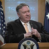 Secretary of State Mike Pompeo speaks during a news conference on April 22, 2019, at the State Department, in Washington. (AP Photo/Sait Serkan Gurbuz)