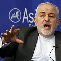 Iran's Foreign Minister Mohammad Javad Zarif speaks at the Asia Society in New York, Wednesday, April 24, 2019. (AP Photo/Richard Drew)