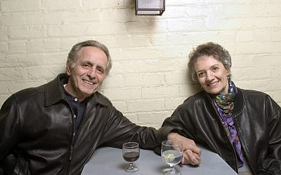 "In this April 8, 2004 file photo, playwright Mark Medoff, left, and actress Phyllis Frelich pose for a photo in New York. Medoff, who wrote the award-winning play ""Children of a Lesser God,"" has died in New Mexico at age 79. Medoff's daughter, Jessica Bunchman, confirmed that he died Tuesday, April 23, 2019, in a Las Cruces hospice, surrounded by family. Frelich won a Tony in 1980 for her Broadway portrayal of Sarah Norman, the deaf woman at the heart of the play. (AP Photo/Justin Walters)"