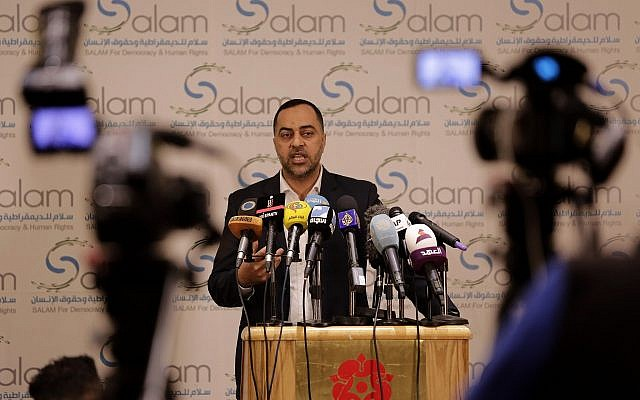 Bahraini activist Ebrahim Sarhan speaks during a press conference by SALAM for Democracy and Human Rights in Beirut, Lebanon, on April 25, 2019. (AP/Hassan Ammar)