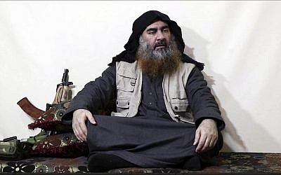 This image made from video posted on a militant website on April 29, 2019, purports to show the leader of the Islamic State group, Abu Bakr al-Baghdadi, being interviewed by his group's Al-Furqan media outlet. (Al-Furqan media via AP)