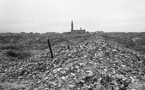 This is a view of the remains of the Warsaw ghetto, which the German SS dynamited to the ground in 1945 after slaughtering some 60,000 Jews in merciless fighting. (AP Photo)
