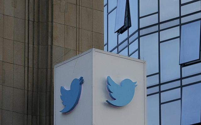 A Twitter sign is shown outside of the social media giant's headquarters in San Francisco, October 26, 2016. (Jeff Chiu/AP)