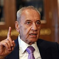 Lebanese Parliament Speaker Nabih Berri, in Beirut, Lebanon,May 11, 2018. (AP Photo/Hussein Malla)