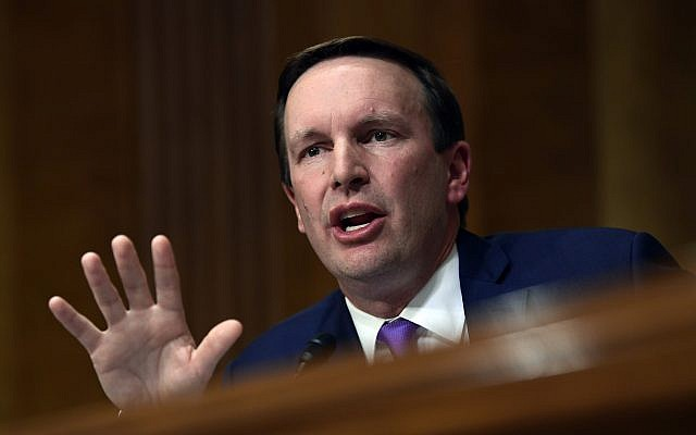 Democratic US Senator Chris Murphy of Connecticut at the Senate Foreign Relations Committee on Capitol Hill in Washington, July 25, 2018. (AP Photo/Susan Walsh)