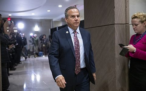 US Rep. David Cicilline leaves the House Democratic Caucus leadership elections at the Capitol in Washington, Wednesday, Nov. 28, 2018. (AP Photo/J. Scott Applewhite)