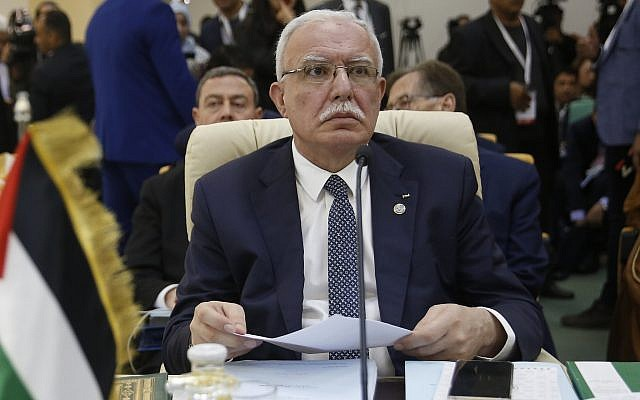 Palestinian Authority Foreign Minister Riyad al-Maliki attends the opening session of the Arab foreign ministers meeting ahead of the Arab Summit, in Tunis, March 29, 2019. (AP Photo/Hussein Malla)