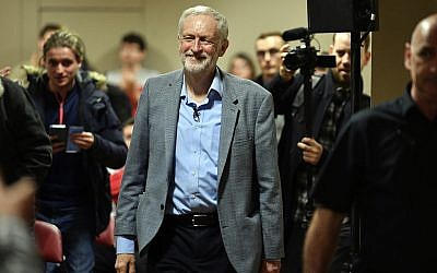 Labour leader Jeremy Corbyn arrives at the Newport Centre, in Newport, South Wales, during a campaign rally for prospective parliamentary candidate Ruth Jones who is standing in the Newport West by-election, March 30, 2019. (Ben Birchall/PA via AP)