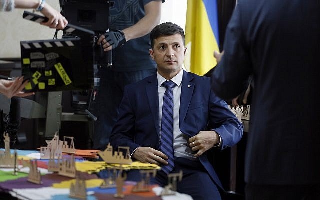 Ukrainian comedian Volodymyr Zelensky, who played the nation's president in a popular TV series, is photographed on the film set in Kiev, Ukraine, on February 6, 2019. (AP/Efrem Lukatsky)