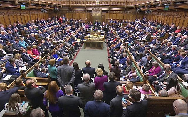 Screen grab taken from video of a packed chamber during Prime Minister's Questions in the House of Commons, London, April 3, 2019 (House of Commons/PA via AP)