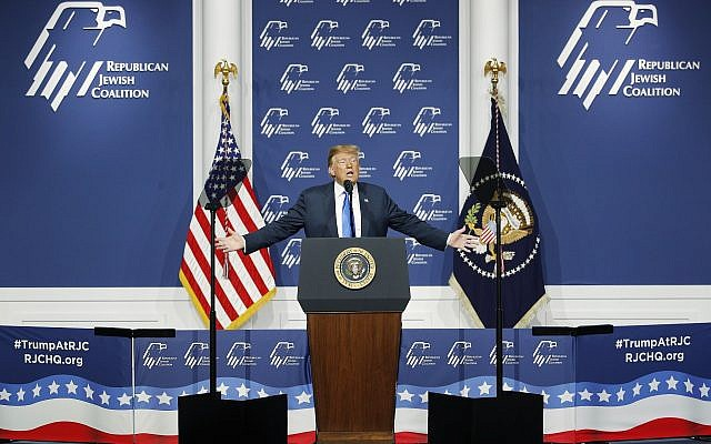US President Donald Trump speaks at an annual meeting of the Republican Jewish Coalition, Saturday, April 6, 2019, in Las Vegas. (AP/John Locher)