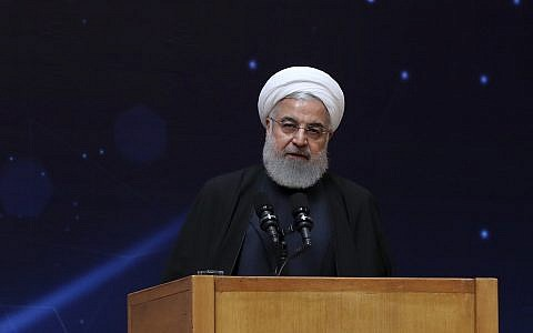 """Iranian President Hassan Rouhani at a ceremony commemorating """"National Day of Nuclear Technology"""" in Tehran, Iran on, April 9, 2019. (Iranian Presidency Office via AP)"""