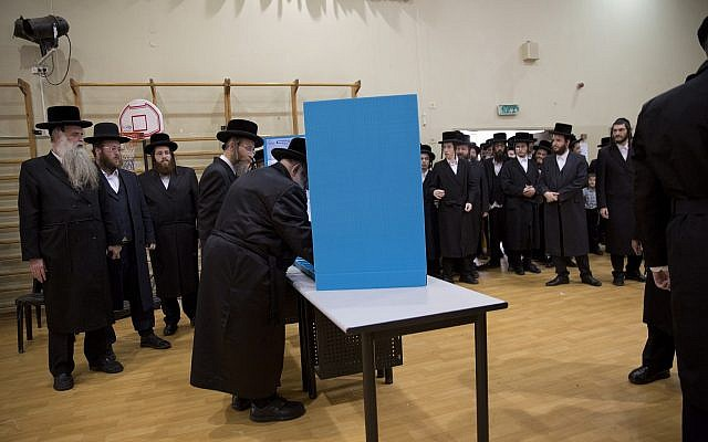 A polling station in the city of Bnei Brak, Israel on April 9, 2019. (AP Photo/Oded Balilty)