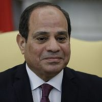 Egyptian President Abdel Fattah el-Sisi is shown while meeting President Donald Trump in the Oval Office of the White House, Tuesday, April 9, 2019, in Washington. (AP Photo/Evan Vucci)