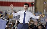 South Bend Mayor Pete Buttigieg announces that he will seek the Democratic presidential nomination during a rally, Sunday, April 14, 2019, in South Bend, Ind. (AP Photo/Darron Cummings)
