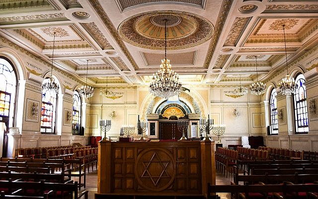 This March 27, 2019 photo shows the sanctuary at Temple Beth-El in Casablanca, Morocco. (Mishael Sims via AP)
