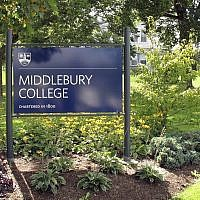 This Aug. 31, 2017, file photo, shows a sign for Middlebury College on the campus in Middlebury, Vermont. (AP Photo/Wilson Ring, File)
