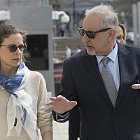 Clare Bronfman, left, arrives at Federal court with her attorney Mark Geragos in the Brooklyn borough of New York, April 19, 2019 (AP Photo/Mary Altaffer)