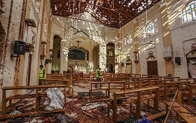 A view of St. Sebastian's Church damaged in blast in Negombo, north of Colombo, Sri Lanka, April 21, 2019 hit by one of eight blasts that rocked churches and hotels in and just outside of Sri Lanka's capital on Easter Sunday. (AP/Chamila Karunarathne)