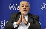Iran's Foreign Minister Mohammad Javad Zarif speaks at the Asia Society in New York, on April 24, 2019. (AP Photo/Richard Drew)