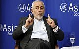 Iran's Foreign Minister Mohammad Javad Zarif speaks at the Asia Society in New York, April 24, 2019. (AP Photo/Richard Drew)