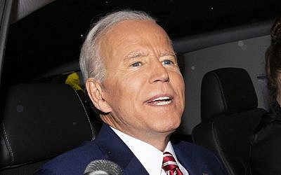 Former vice president and Democratic presidential candidate Joe Biden is shown after appearing on ABC's 'The View,' Friday, April 26, 2019 in New York. (AP Photo/Eduardo Munoz Alvarez)