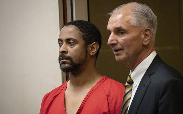 Isaiah J. Peoples appears for his arraignment in Santa Clara County Superior Court as his attorney, Chuck Smith, stands at his side on April 26, 2019, in San Jose, California (Jim Gensheimer/San Francisco Chronicle via AP, Pool)